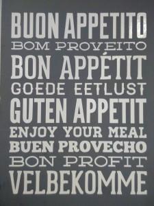 plakat guten appetit in vielen sprachen